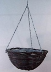 "Black Rattan 12"" Round Hanging Basket"